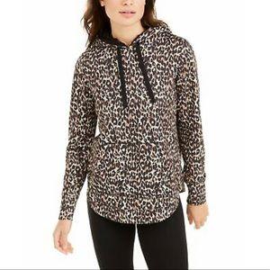 Ideology Women's Leopard Round-Hem Hoodie,